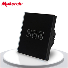 Touch Switch EU Standard 3 Gang 1 Way Light Switch Touch Screen wall switch wall socket for lamp