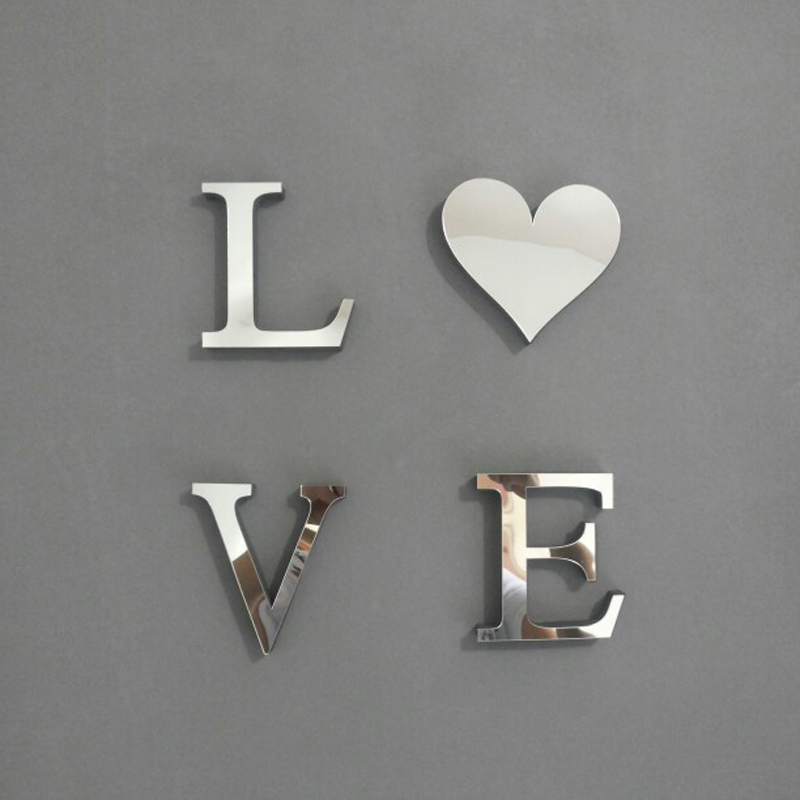 LOVE English letters decoration Mirror Name Plaques Word Letters 3D ...