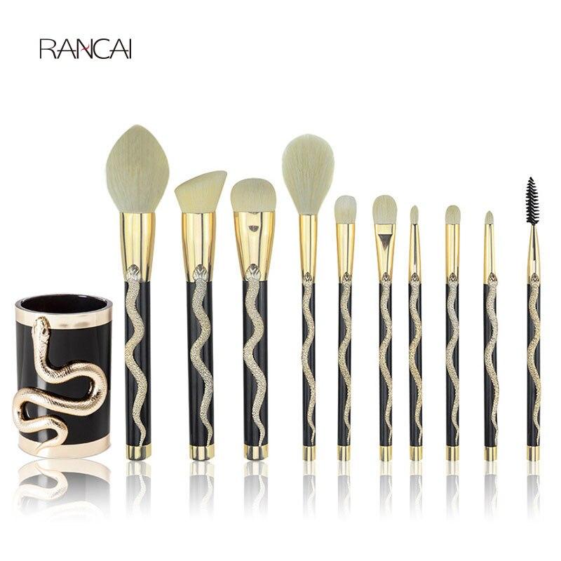 RANCAI 10pcs Snake Makeup Brushes Set Foundation Powder Contour Concealer Blush Eyeshadow Eyelashes Comestic Brush Beauty Tool