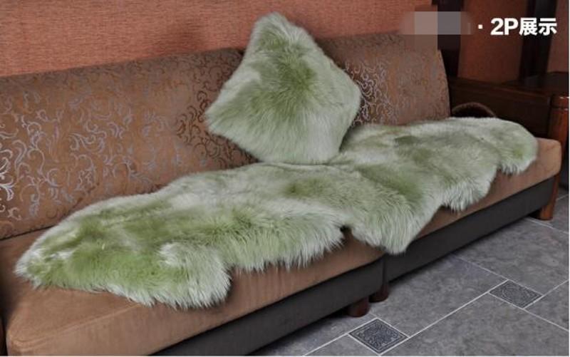 Green Sheepskin Rug 2P