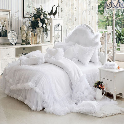 Bedspread Lace Princess wind bed skirt eight piece cotton lace wedding celebration beddi ...