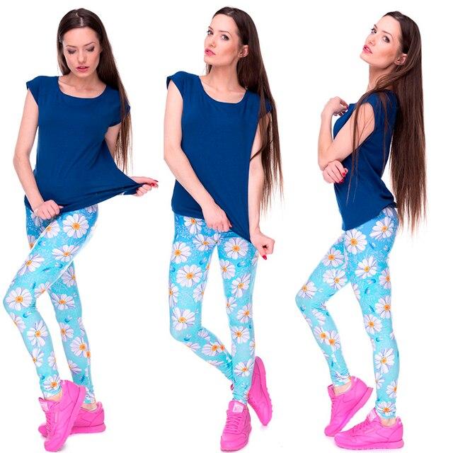 2016 3D Pretty Casual Basic Daisy Leggings Female Women Men Light Blue Ombre Leggin Legging Pant