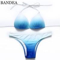 2015 Lady Girl Womens Sexy Push Up Padded Bikini Bra Set Bandage Swimwear Blue Swimsuit Beachwear
