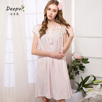 Summer New Arrivals Lace Nightgowns Solid Home Dress Princess Pink Sleepwear Sexy Sleep Wear Elegant Nightdress