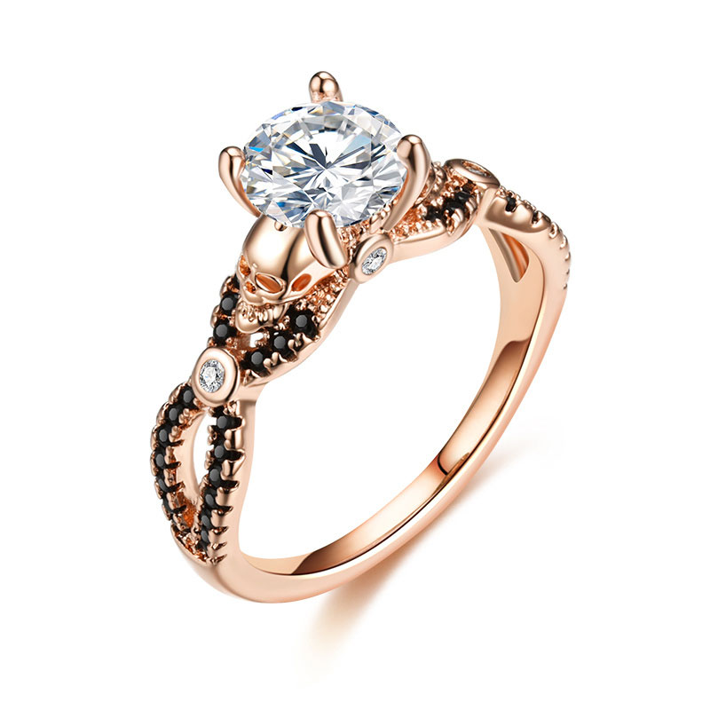 US $3 59 10% OFF|Skull Ring Rose Gold Color Fashion Wedding & Engagement CZ  Crystal For Women Ring Jewelry Dropshipping-in Wedding Bands from Jewelry