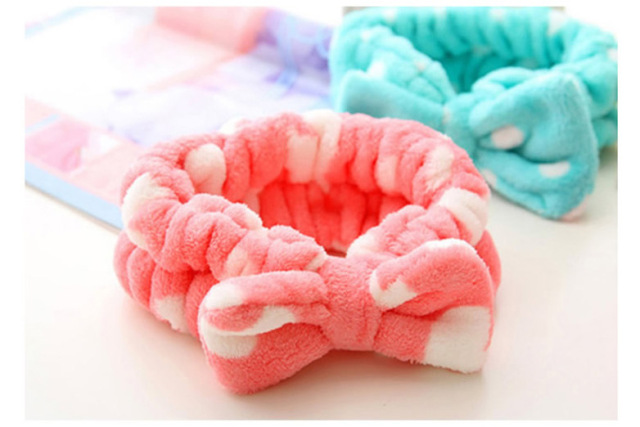 Free shipping New Multifunctional Flannelette Bows Elastic Headband for Bath Shower tool Exercise Headwear Hair Accessories GYH