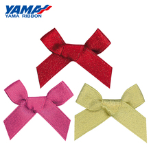 YAMA Wide 37mm±3mm High 33mm±3mm Hand-Tied Bow 200pcs/bag Satin Gold Silver Edge Purl Ribbon Diy Gift Decoration Wedding Ribbons