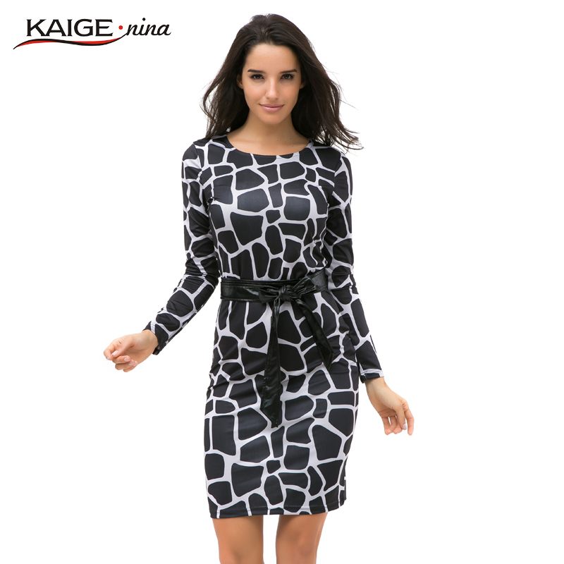 Kaige.Nina New Women's Leisure Belt Decoration Style Long-Sleeved Geometry Round Collar Natural Style Knee-Length Dress 1227