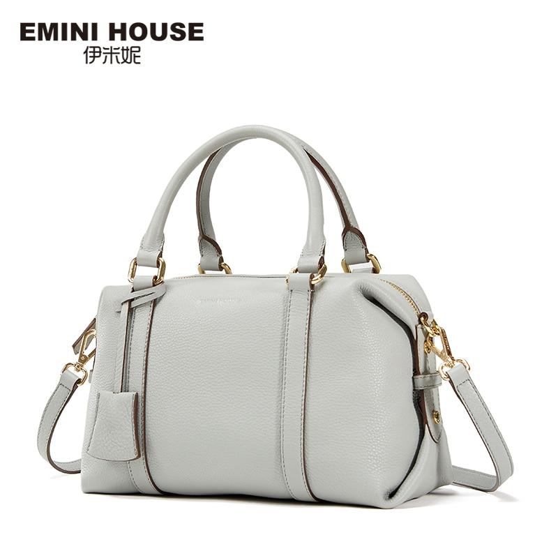 EMINI HOUSE Fashion Genuine Leather Boston Bag Women Shoulder Bags Luxury Ladies Handbags Women Messenger Bags Casual Clutches fashion house