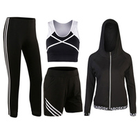 Yoga Set Women Tracksuits Black Sport Bra Pants Shirt Shorts Jacket 5 Pieces Fitness Gym Running
