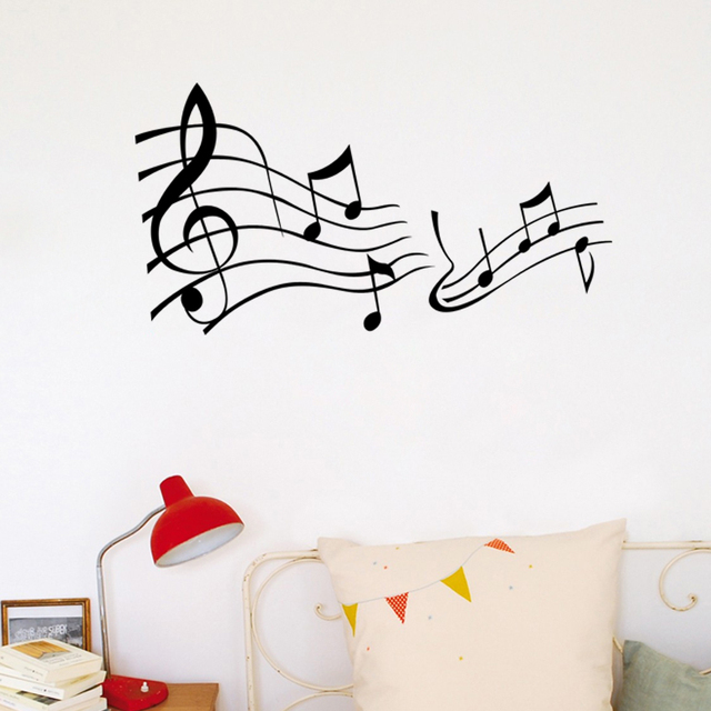Music Note Decor Mural Art Vinyl Wall Sticker Decal Home Decor Words Wall Art Wallpaper Living