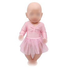 Dolls clothes pink ballet costume lace dress fit 43 cm baby doll and American 18 inch Girl doll clothing accessories f316 american girl dolls gymnastic clothing dance costume fit 18 inch doll american girl doll accessories x 228 drop shipping