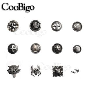 5sets Pewter Rivet Spikes Studs Punk Rock Apparel Cloth Cap Shoes Bag Pet Collar DIY Leather Craft Accessory Spider Star Wolf(China)