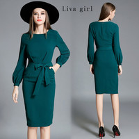 Liva Girl Autumn And Winter New Women S Fashion Elegant Lantern Sleeves Lace Long Professional Dress