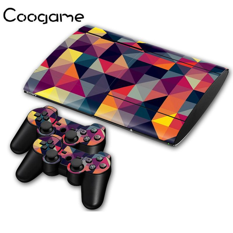 3D Color Skins For PalyStation 3 Slim 4000 Console Stickers & 2 Controller Joystick Pads Decal For Sony PS3 Slim4000