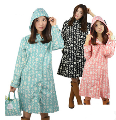 Japan Fashion Womens Thin Portable Tour Long Trench Raincoats burbe rry_ Girls Waterproof Clothes Floral Outdoor Rain Jacket merrell girls relay tour