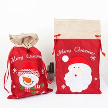 Linen Cloth Christmas Gift Bags Embroidered Drawstring Treat Bag