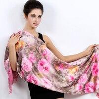 Шелковый шарф с Autumn Cashmere толстые теплые кисточкой Шелковый печати длинный шарф Ms.190X53cm