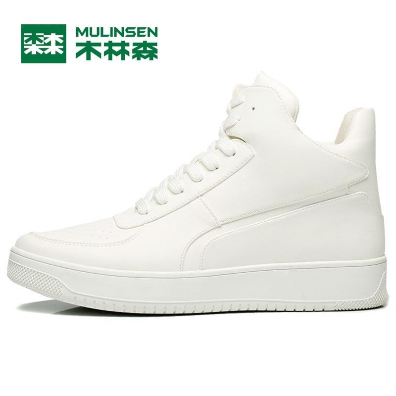 Prix pour Mulinsen hommes planche à roulettes de sport chaussures blanc/noir en cuir porter non-slip en plein air sport chaussures traning sneakers 260097
