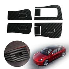 цена на 4pcs New Carbon Fiber Inner Car Window Switch Panel Cover Sticker Anti-Wear Anti-Dirt Easy To Install For Tesla Model 3