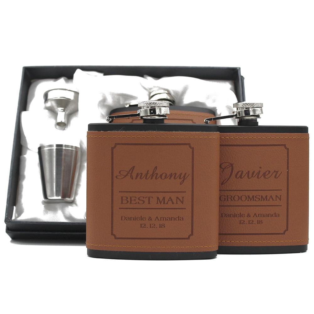 3 Sets Personalized Engraved 6oz Black Leather Hip Flask Set Stainless Steel Best Man Groom Wedding