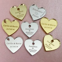 50/100pcs Personalized Mr & Mrs Mirror Love Heart  Wedding Favors Table Decorations 25mm