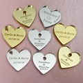 50/100pcs Personalized Mr & Mrs Mirror Love Heart Wedding Favors Table Decorations 25mm with hole in center