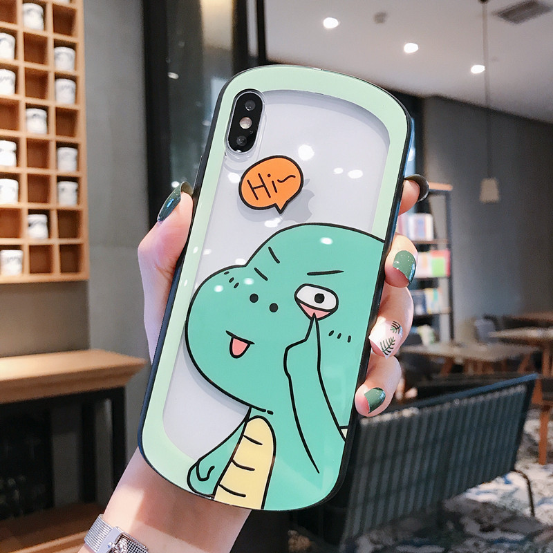 BONVAN For iPhone X XR XS Max Case hard glass Cute pig dinosaur Protection Back Funda For iPhone 6 6s 7 8 Plus Phone Cover Coque in Fitted Cases from Cellphones Telecommunications