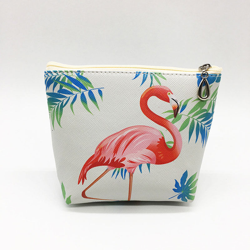 2018 New Style Fashion Girl Flamingo Coin Purse Card Bag Headphones Animal Pattern Women's PU Zip Wallet