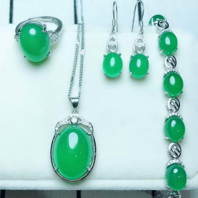 yu xin yuan Fine Jewelry Natural 925 Silver Green Mosaic Jade Medullary Ring Pendant Earrings Bracelet Jewelry Sets Women party цена