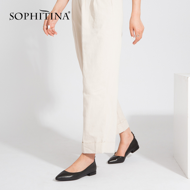 SOPHITINA Women's Handmade Flats Pointed Toe Slip On Career Autumn Black Patent Leather Shoes Shallow Lady New Fashion Flats P14