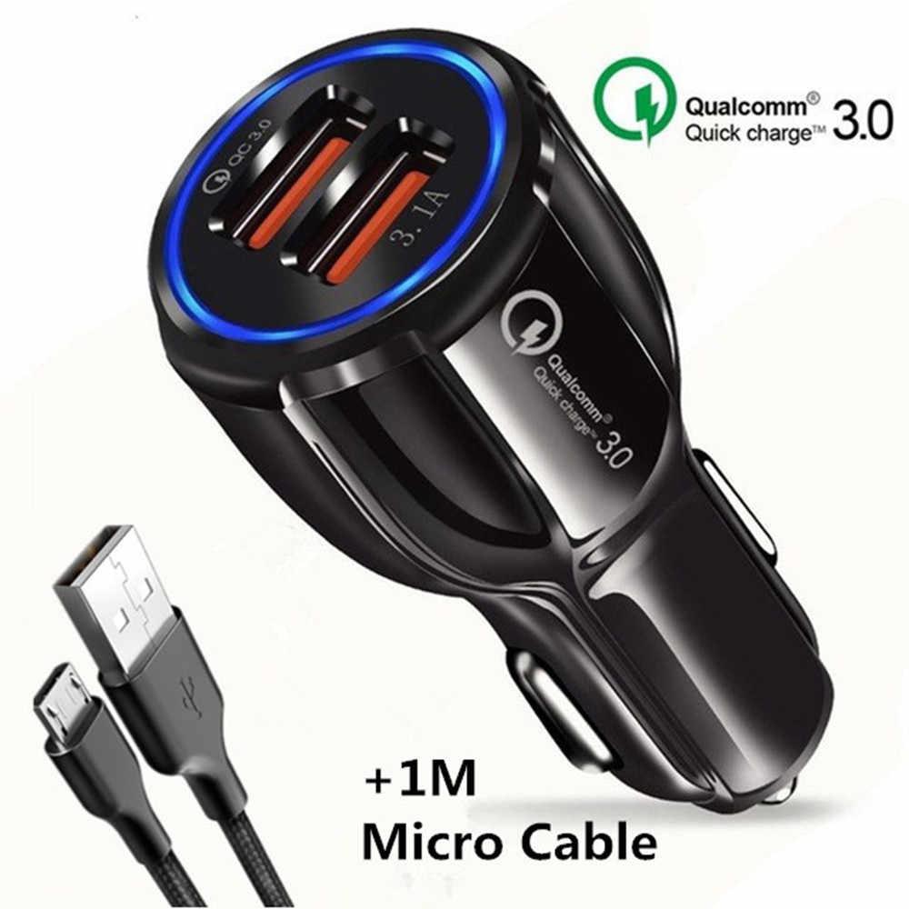 XEDAIN سريعة تهمة 5V 3.1A 3.0 شاحن QC 3.0 9V 12V 2 ميناء USB شاحن سيارة شاحن سريع الهاتف المحمول محول السفر سيارة-تهمة