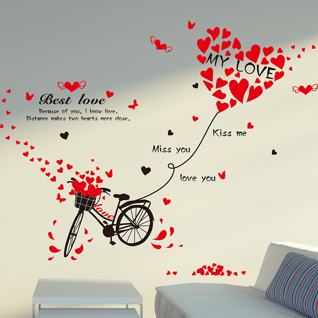 [SHIJUEHEZI] Bicycle Wall Sticker Red Love College Memory for Living Room Quotes Decals Removable  sc 1 st  AliExpress.com & SHIJUEHEZI] Bicycle Wall Sticker Red Love College Memory for Living ...