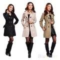 2016 Nueva Nueva Moda Para Mujer Slim Fit Trench Coat Cruzado Outwear