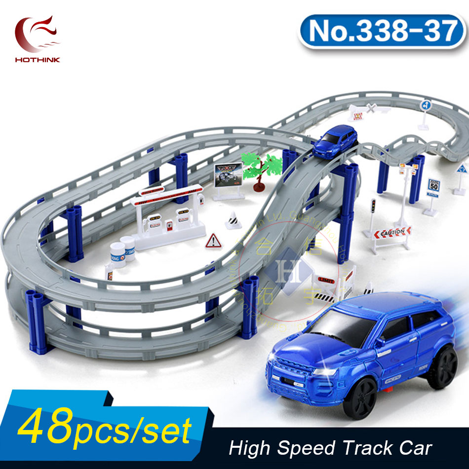 Hothink 48pcs/setElectric Rail Track Car Train Model Bridge Railway Highway Overpass Racing Road Toy Building Sets for Kids