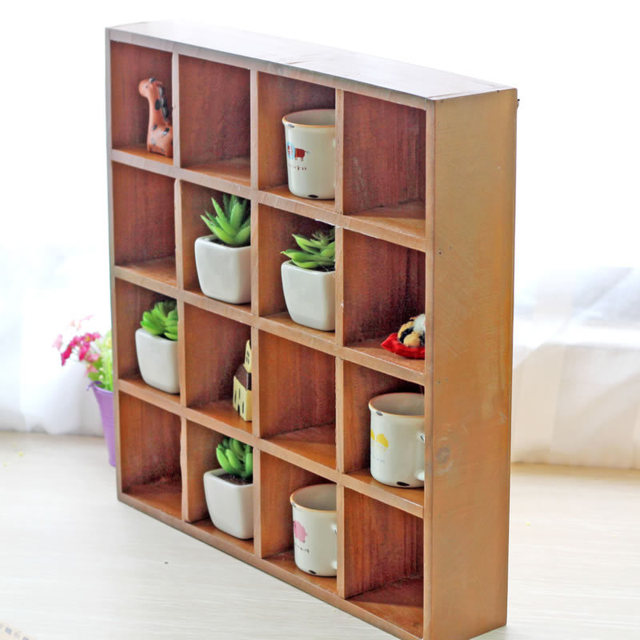 Z Real Wooden Sundries Storage Cabinet Cartoon Display 16 Grid Box Wall Hang