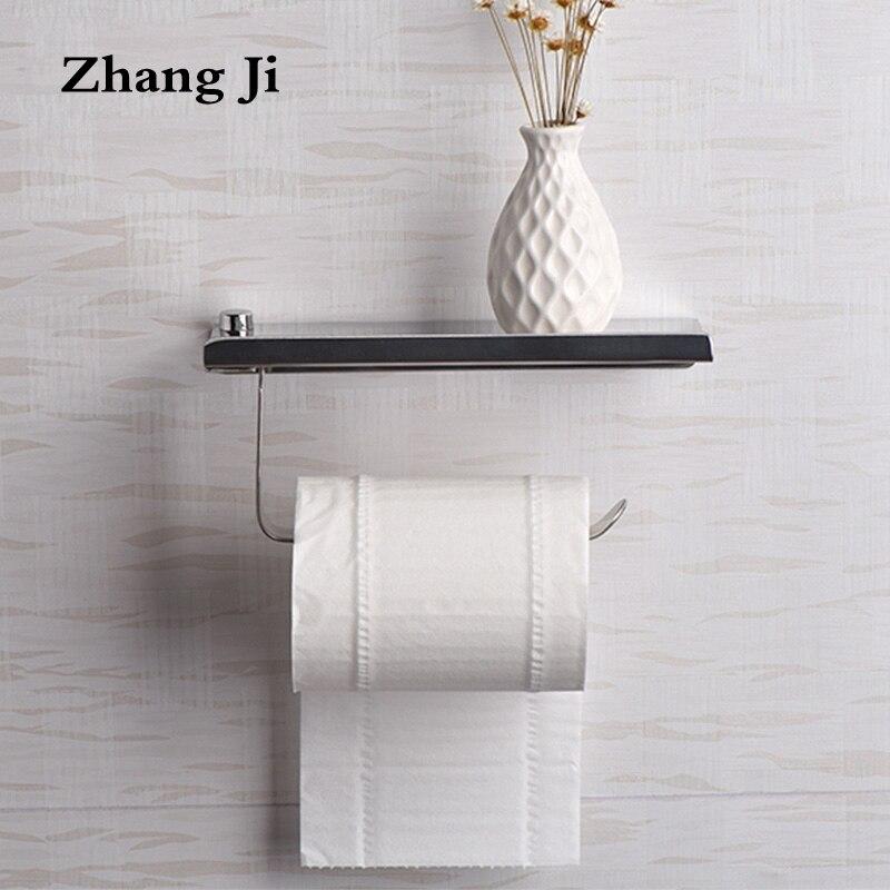 modern design stainless steel bathroom toilet paper holders wall mount roll tissue rack 304 roll paper holder with shelf zj018