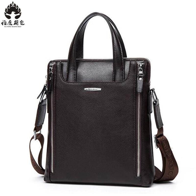 2018 New Leather Laptop Bag Men Business Portfolio Men's Briefcase Mens Bags Handbags Genuine Leather Male Folder Laptop Case цена и фото