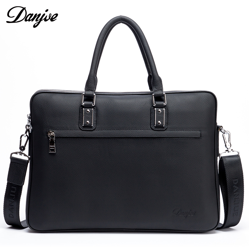 DANJUE Leather Briefcases Men Office Computer bag Business Handbag Genuine Leather Work Laptop bags for men Black Blue Lawyer
