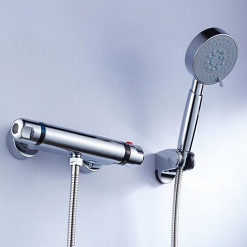 wholesale and retail high quality brass chrome finished bathroom thermostatic shower faucet set fashion high quality brass chrome thermostatic bathroom shower faucet constant temperature faucet mix water valve full copper