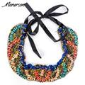 2017 ZA Fashion Boho Round Beaded Necklace Pendant Handmade Bijoux Bead Ribbon Rope Chain Statement Women Ethnic Collier Jewelry