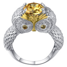 Fashion Jewelry men Women's 925 Sterling Silver Ring Champagne Crystal Owl Shape Finger Ring Cocktail prom anniversary Ring Gift(China)