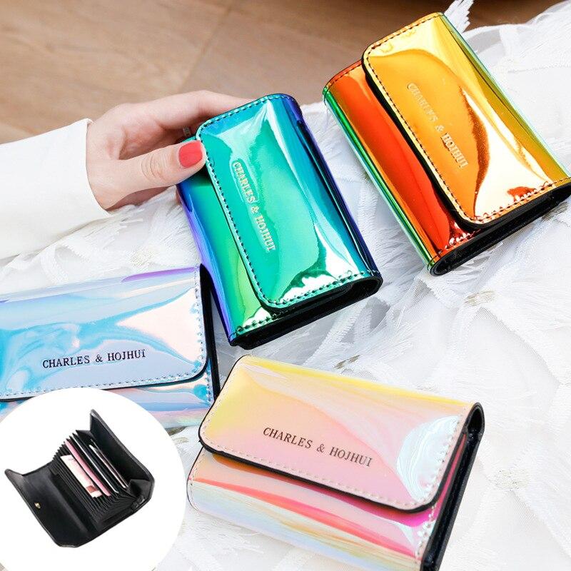 Nova chegada mulheres laser holográfico carteiras 12 bits titular do cartão moeda bolsa pequena carteira de cartão titular do cartão de crédito cartera