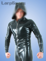 Men long sleeve latex T shirt with cap rubber fetish exotic tank tops with front zip