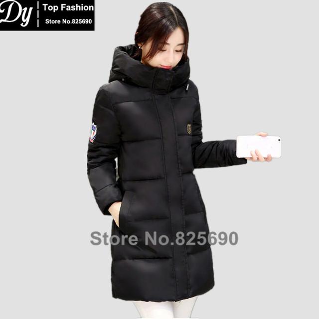 Novos Casacos de Inverno Para As Mulheres Da Moda Grossas de Algodão Para Baixo Parka Casaco Jaqueta de Inverno das Mulheres do Sexo Feminino de Água Com Capuz Gola Alta jaqueta