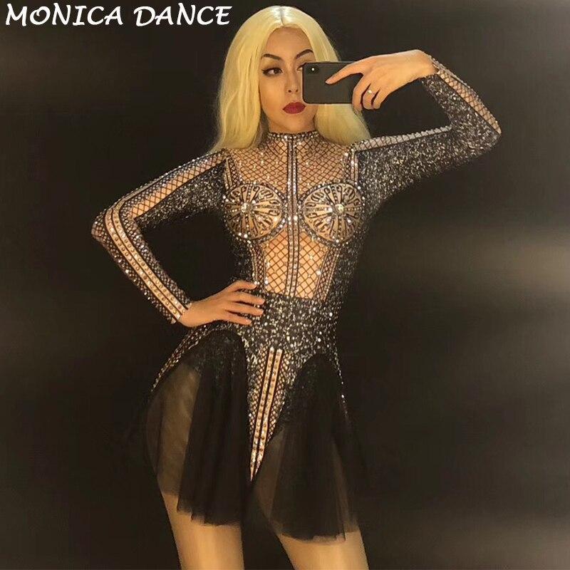 Sexy Femmes Jupe Chanteur Étincelant Bling Noir Discothèque Fil Danseur Fête Scène Costumes Court Porter Body Filet Bodysuit Cristal dr0fqr