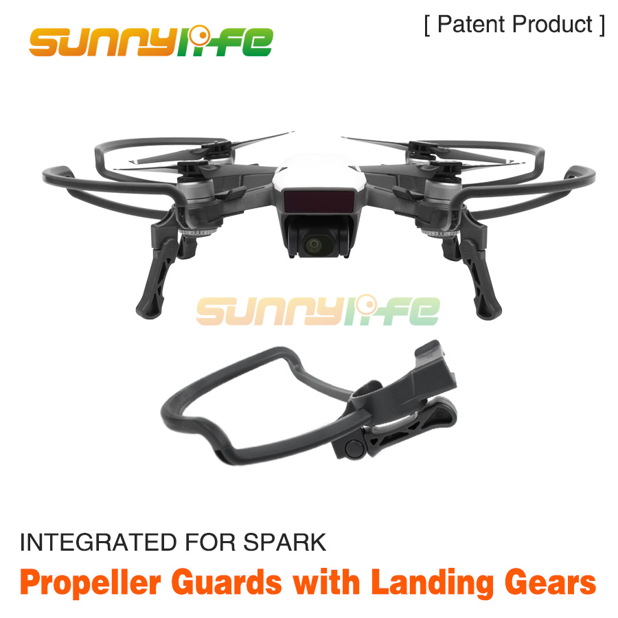 Sunnylife Propeller Guards + Foldable Landing Gears Protection Kit for DJI SPARK Drone Accessories easttowest dji spark accessories hard shell dji spark backpack waterproof storage bag for spark body remote all accessories