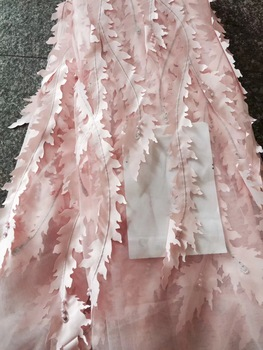 High grade african tulle net lace fabric with beads 3d flowers design french party /wedding dress lace CD1845