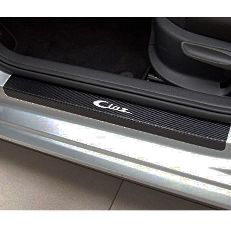 Carbon Fiber Vinyl Sticker Car Door Sill Protector Scuff Plate For Suzuki Ciaz Car Accessories