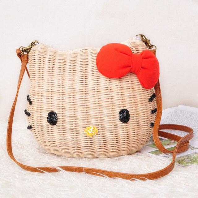 8765bae3c HELLO KITTY women handbags rattan straw beach bag 3 sizes cartoon character  fabric high quality shoulder bag